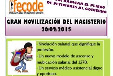 Gran Movilización del Magisterio y la Comunidad Educativa el 26 de febrero de 2015