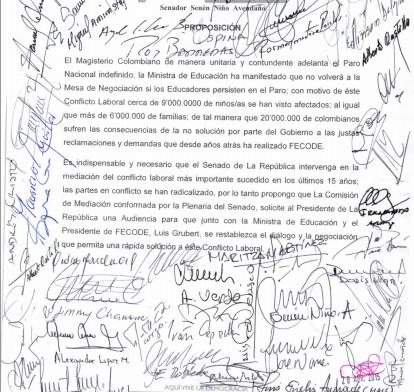 Más de 50 senadores de todas las bancadas solicitan al Gobierno y Fecode restablecer el diálogo y la negociación
