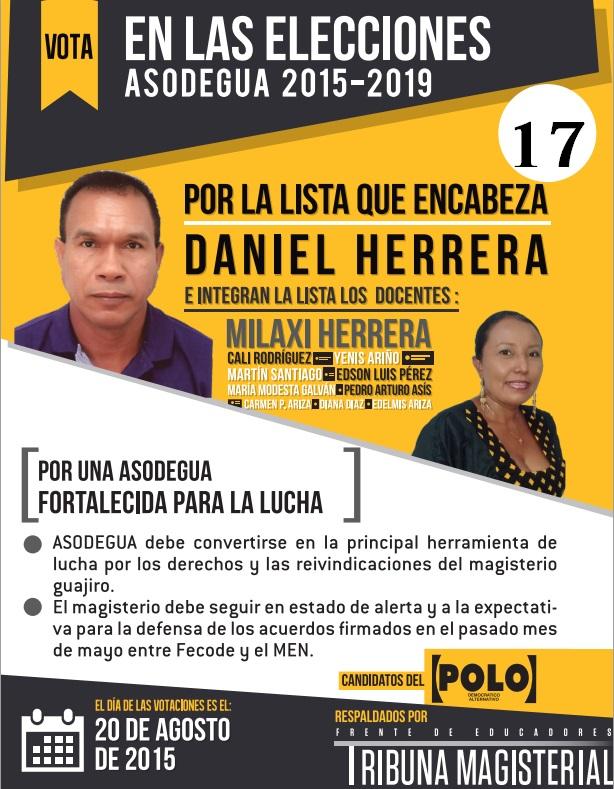 """Elecciones de ASODEGUA  """"Asociación de Educadores de la Guajira"""",   20 de agosto de 2015"""